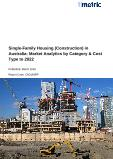 Single-Family Housing (Construction) in Australia: Market Analytics by Category & Cost Type to 2022